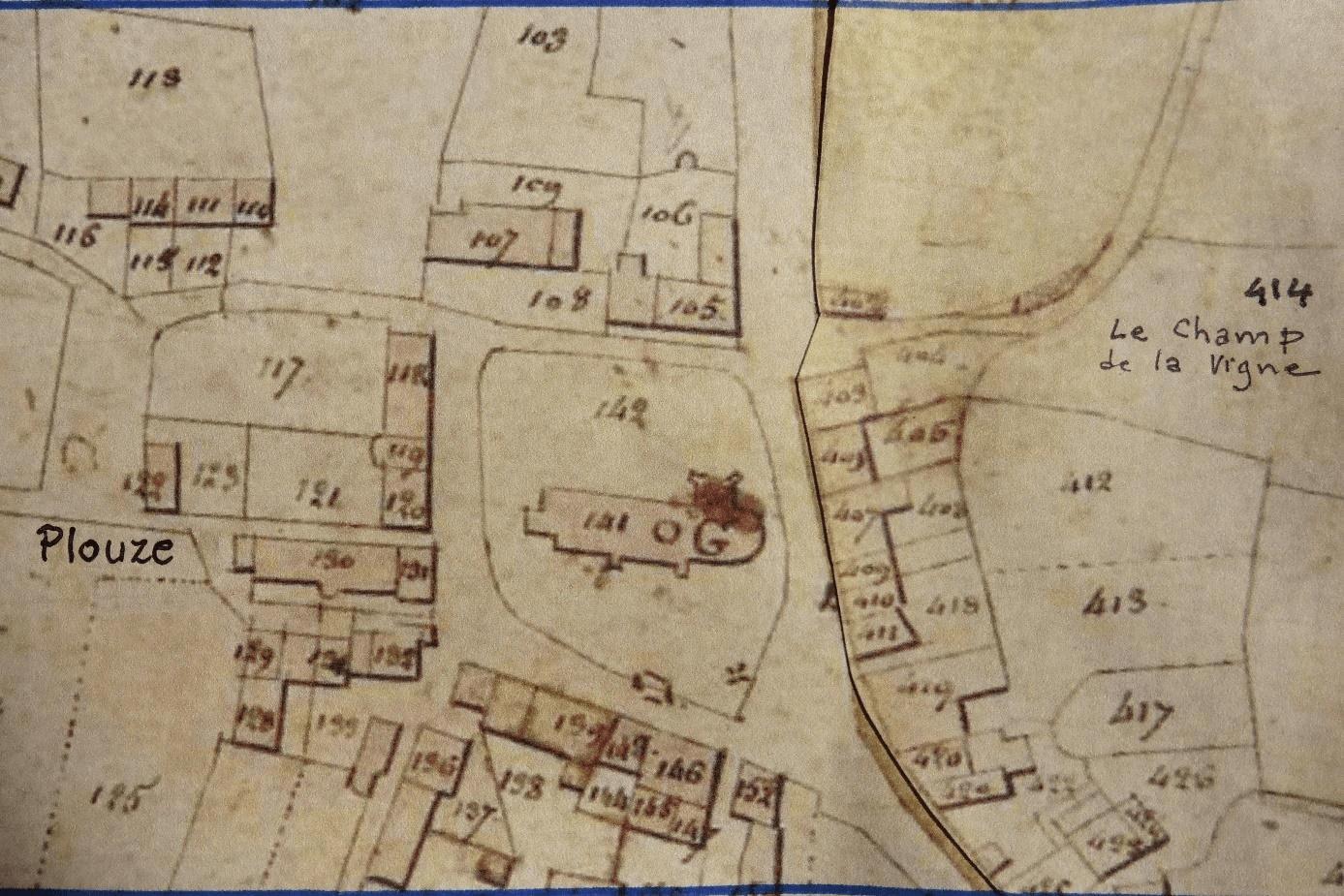 Extrait Cadastre VERN SUR SEICHE  Sections D1 et D2 du Bourg.